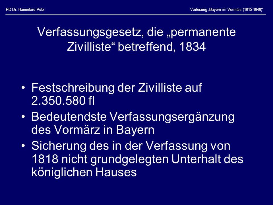 """PD Dr. Hannelore PutzVorlesung """"Bayern im Vormärz (1815-1848)"""" Verfassungsgesetz, die """"permanente Zivilliste"""" betreffend, 1834 Festschreibung der Zivi"""
