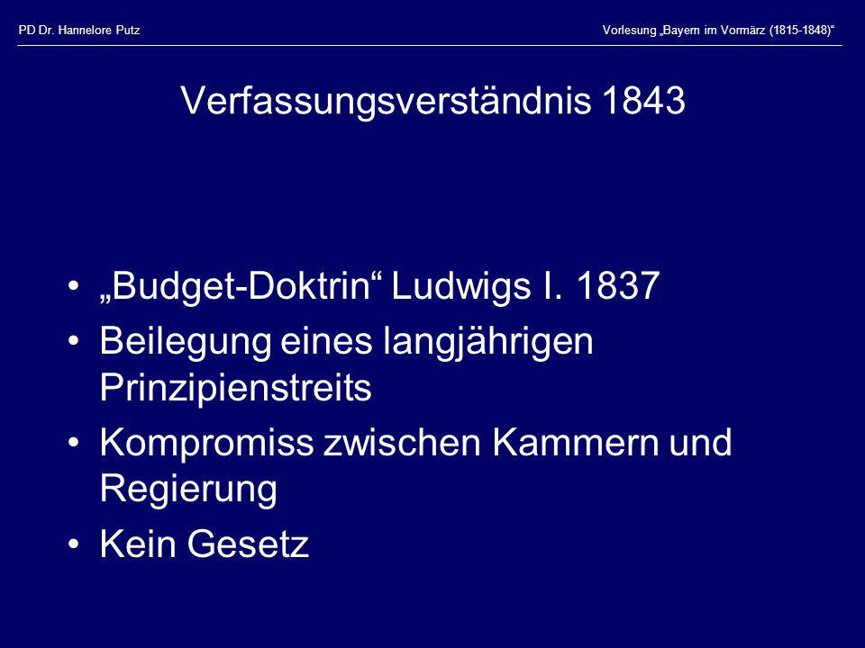 """PD Dr. Hannelore PutzVorlesung """"Bayern im Vormärz (1815-1848)"""" Verfassungsverständnis 1843 """"Budget-Doktrin"""" Ludwigs I. 1837 Beilegung eines langjährig"""
