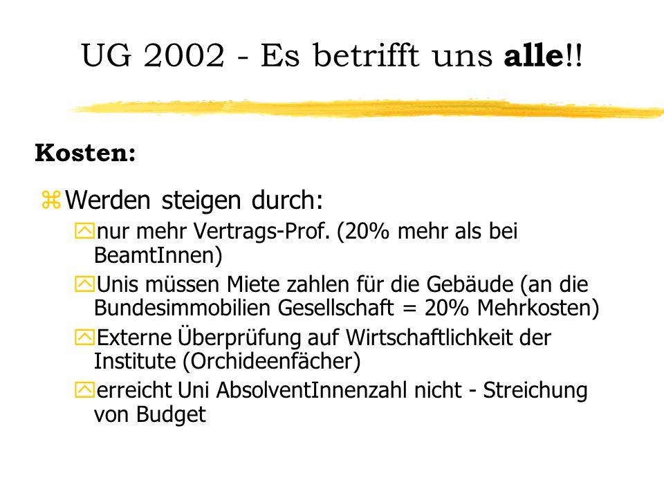 UG 2002 - Es betrifft uns alle !! zWerden steigen durch: ynur mehr Vertrags-Prof. (20% mehr als bei BeamtInnen) yUnis müssen Miete zahlen für die Gebä
