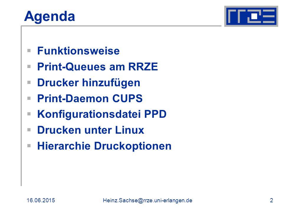 16.06.2015Heinz.Sachse@rrze.uni-erlangen.de2 Agenda  Funktionsweise  Print-Queues am RRZE  Drucker hinzufügen  Print-Daemon CUPS  Konfigurationsdatei PPD  Drucken unter Linux  Hierarchie Druckoptionen