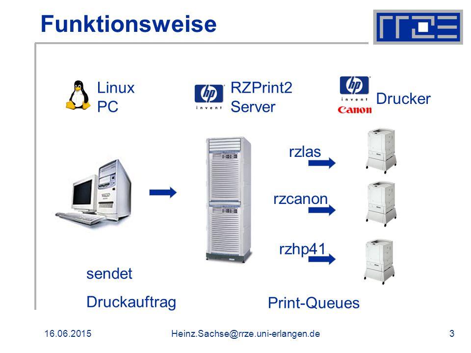 16.06.2015Heinz.Sachse@rrze.uni-erlangen.de3 Funktionsweise Linux PC sendet Druckauftrag RZPrint2 Server Drucker rzlas rzhp41 rzcanon Print-Queues