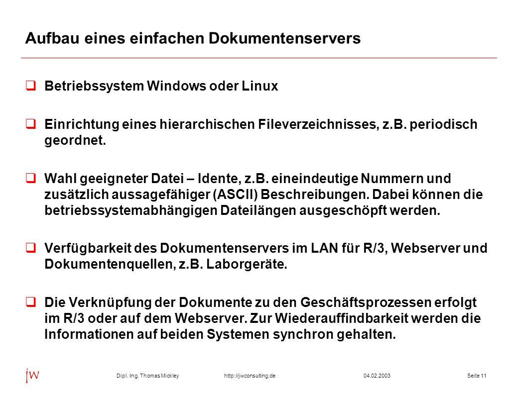 Dipl. Ing. Thomas Mickley jw http://jwconsulting.deSeite 1104.02.2003 Aufbau eines einfachen Dokumentenservers  Betriebssystem Windows oder Linux  E