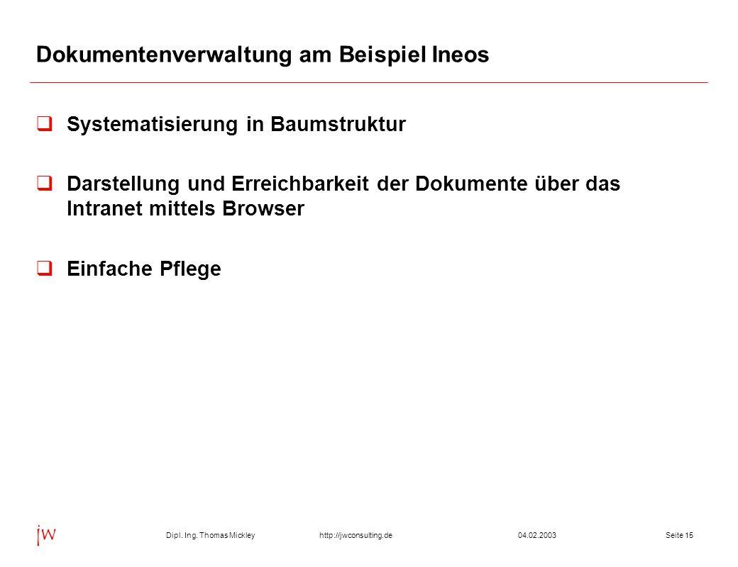 Dipl. Ing. Thomas Mickley jw http://jwconsulting.deSeite 1504.02.2003 Dokumentenverwaltung am Beispiel Ineos  Systematisierung in Baumstruktur  Dars