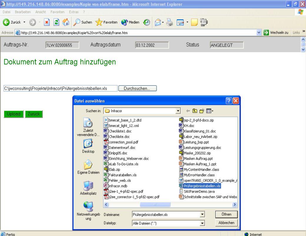 Dipl. Ing. Thomas Mickley jw http://jwconsulting.deSeite 2304.02.2003 Zugriff vom Webserver – Dokumente hinzufügen