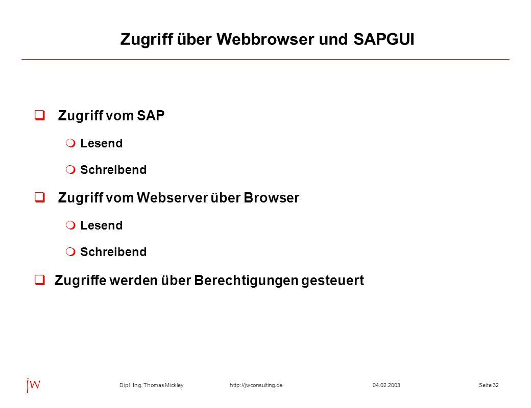 Dipl. Ing. Thomas Mickley jw http://jwconsulting.deSeite 3204.02.2003  Zugriff vom SAP  Lesend  Schreibend  Zugriff vom Webserver über Browser  L