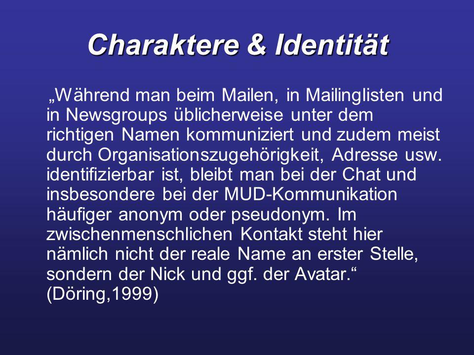 """Charaktere & Identität """"Während man beim Mailen, in Mailinglisten und in Newsgroups üblicherweise unter dem richtigen Namen kommuniziert und zudem meist durch Organisationszugehörigkeit, Adresse usw."""