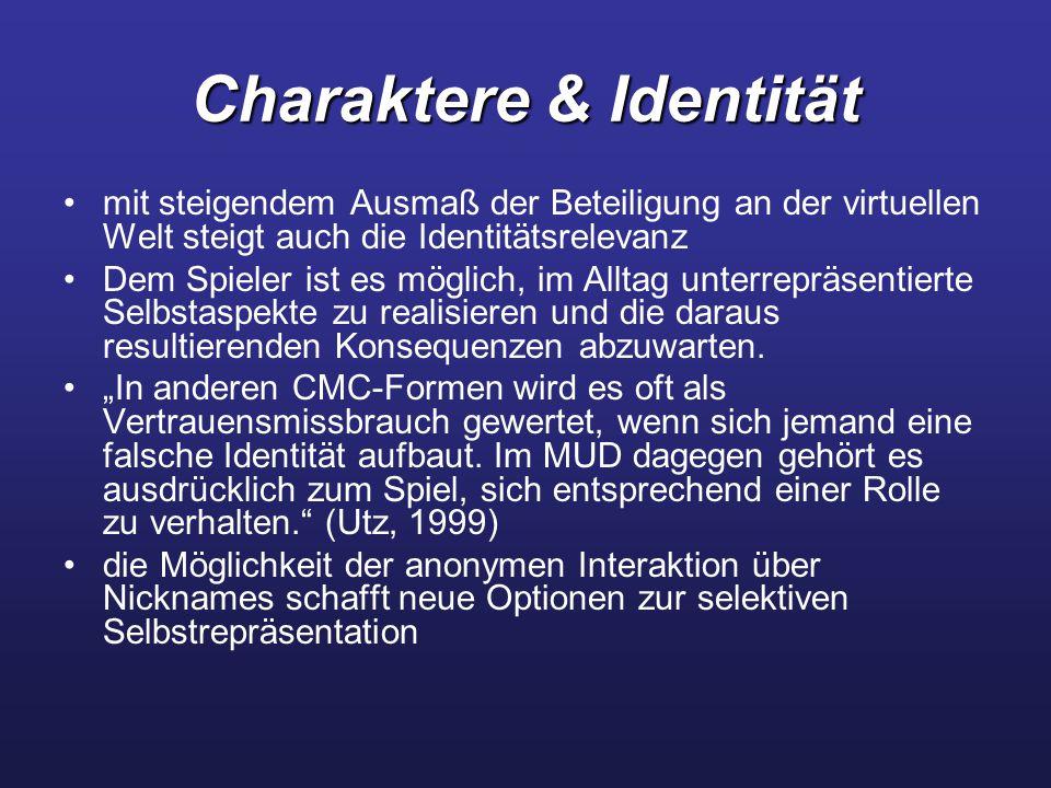 Charaktere & Identität mit steigendem Ausmaß der Beteiligung an der virtuellen Welt steigt auch die Identitätsrelevanz Dem Spieler ist es möglich, im Alltag unterrepräsentierte Selbstaspekte zu realisieren und die daraus resultierenden Konsequenzen abzuwarten.