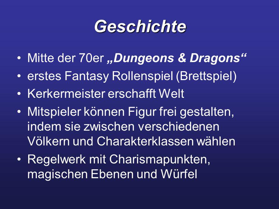 """Geschichte Mitte der 70er """"Dungeons & Dragons erstes Fantasy Rollenspiel (Brettspiel) Kerkermeister erschafft Welt Mitspieler können Figur frei gestalten, indem sie zwischen verschiedenen Völkern und Charakterklassen wählen Regelwerk mit Charismapunkten, magischen Ebenen und Würfel"""