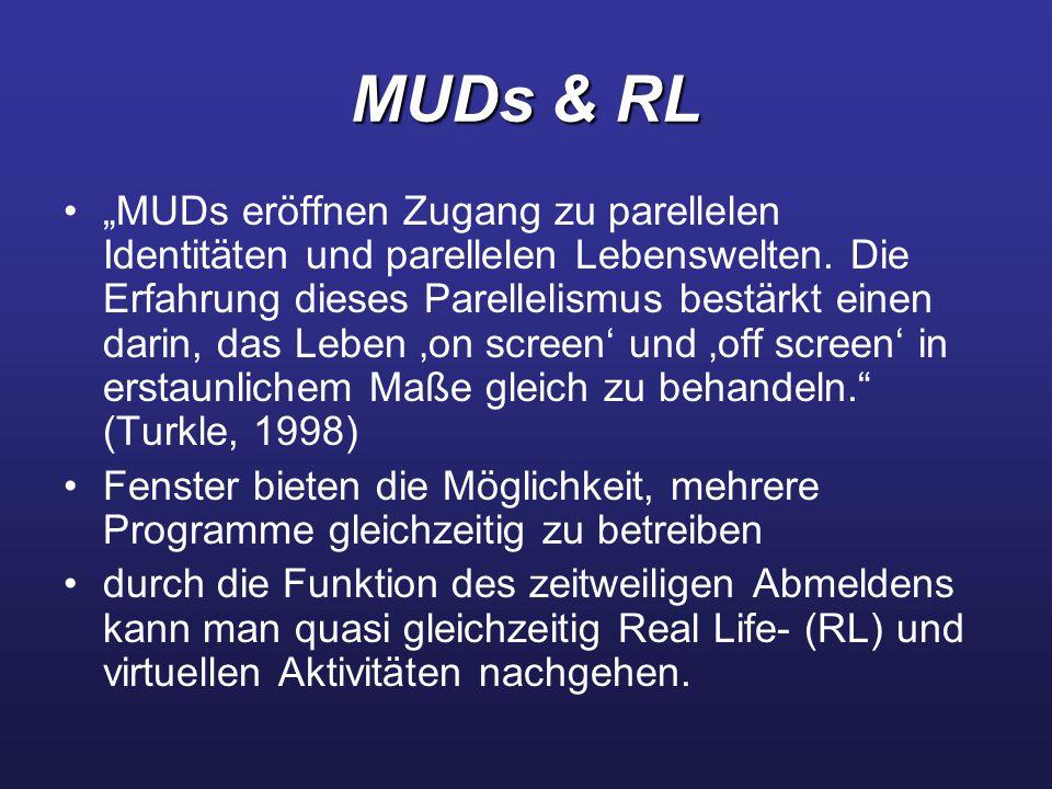 """MUDs & RL """"MUDs eröffnen Zugang zu parellelen Identitäten und parellelen Lebenswelten. Die Erfahrung dieses Parellelismus bestärkt einen darin, das Le"""