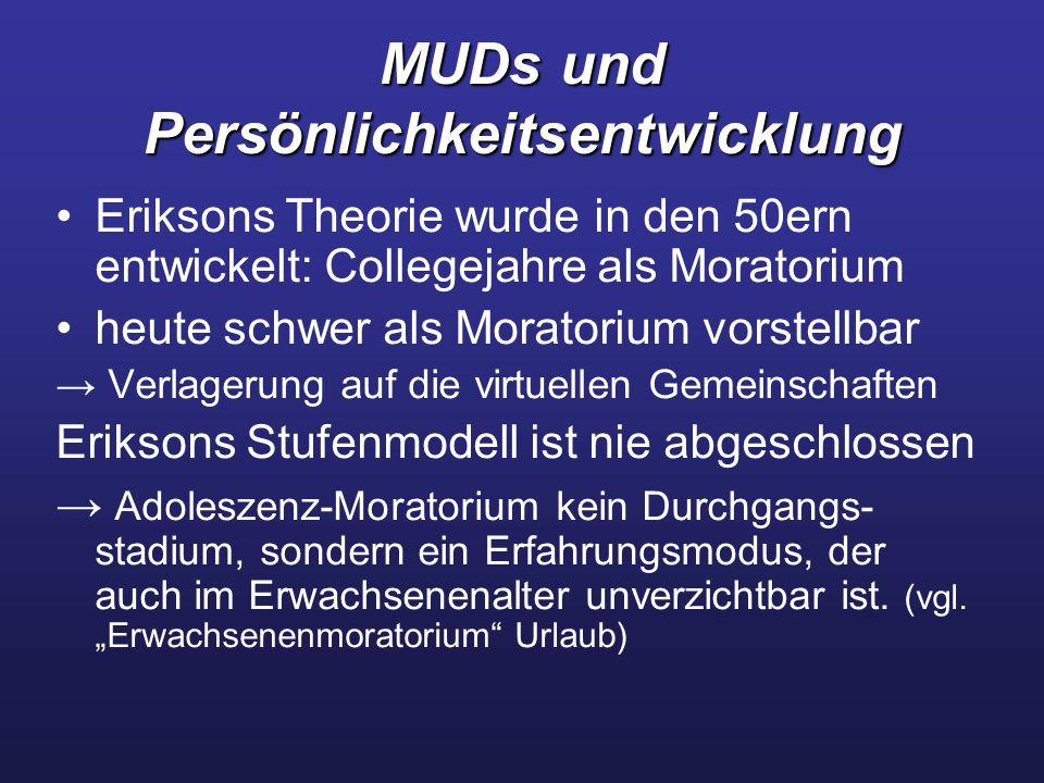 MUDs und Persönlichkeitsentwicklung Eriksons Theorie wurde in den 50ern entwickelt: Collegejahre als Moratorium heute schwer als Moratorium vorstellba