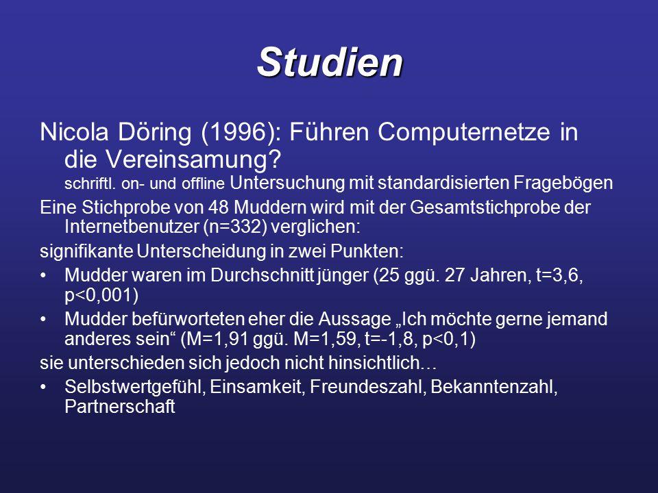 Studien Nicola Döring (1996): Führen Computernetze in die Vereinsamung? schriftl. on- und offline Untersuchung mit standardisierten Fragebögen Eine St