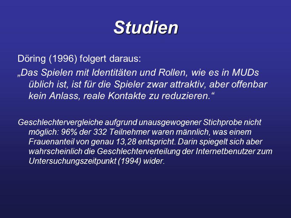 """Studien Döring (1996) folgert daraus: """"Das Spielen mit Identitäten und Rollen, wie es in MUDs üblich ist, ist für die Spieler zwar attraktiv, aber off"""