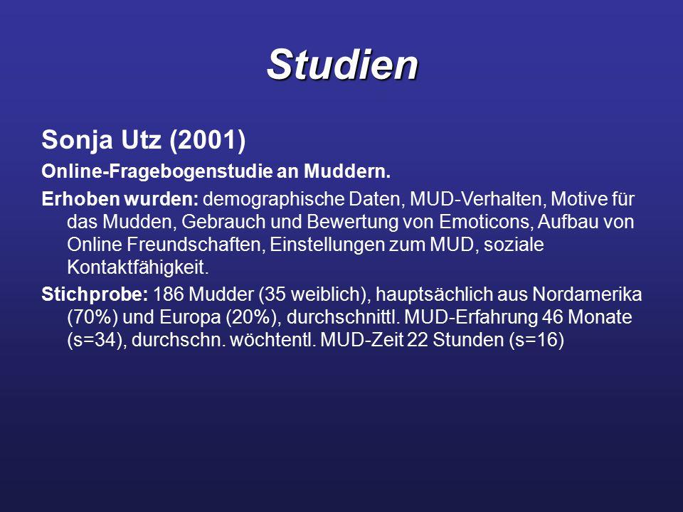 Studien Sonja Utz (2001) Online-Fragebogenstudie an Muddern. Erhoben wurden: demographische Daten, MUD-Verhalten, Motive für das Mudden, Gebrauch und