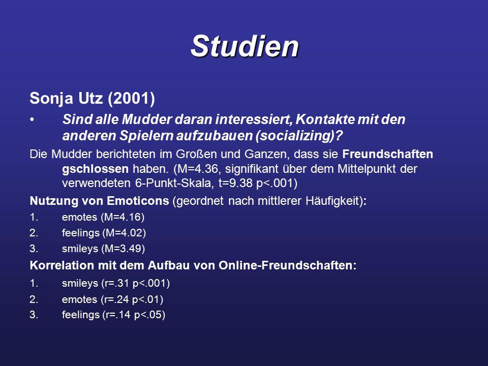 Studien Sonja Utz (2001) Sind alle Mudder daran interessiert, Kontakte mit den anderen Spielern aufzubauen (socializing)? Die Mudder berichteten im Gr