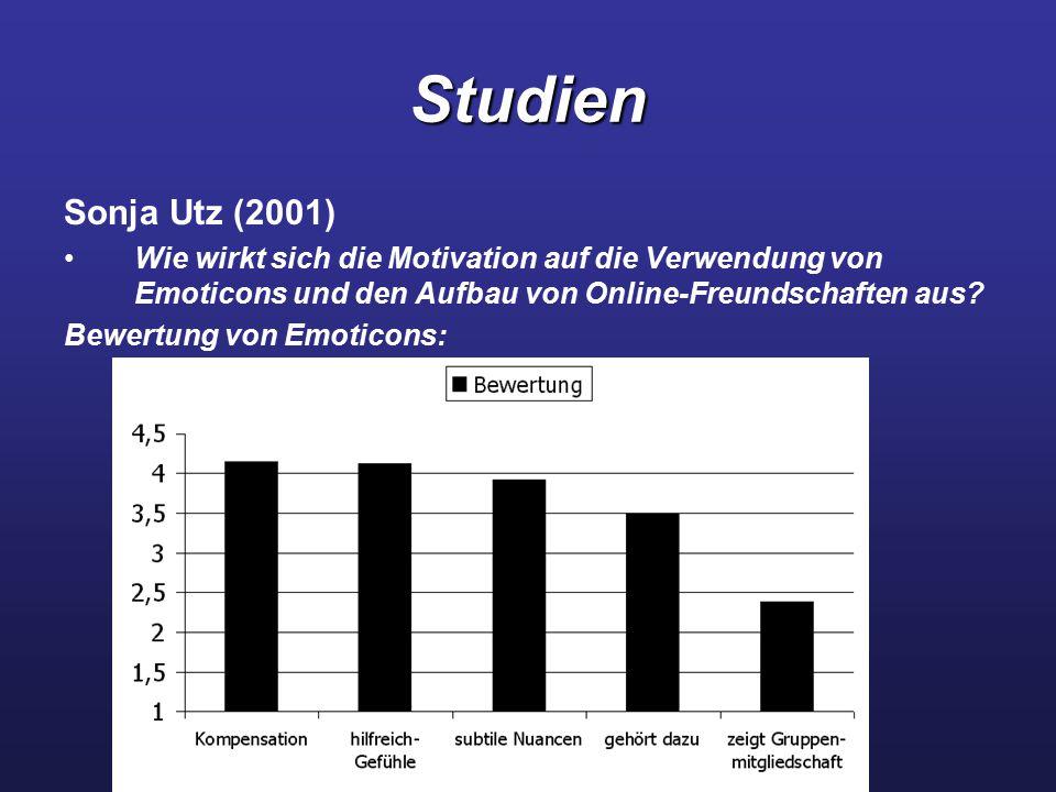 Studien Sonja Utz (2001) Wie wirkt sich die Motivation auf die Verwendung von Emoticons und den Aufbau von Online-Freundschaften aus? Bewertung von Em