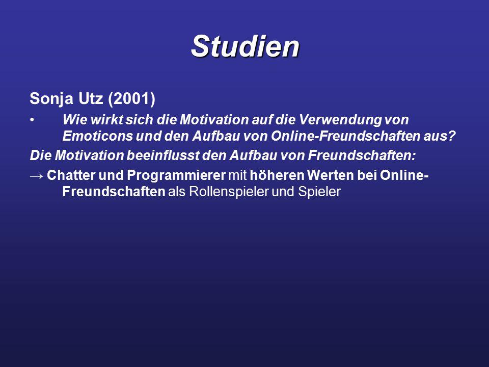 Studien Sonja Utz (2001) Wie wirkt sich die Motivation auf die Verwendung von Emoticons und den Aufbau von Online-Freundschaften aus? Die Motivation b