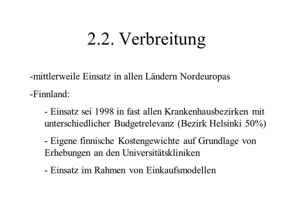 2.2. Verbreitung -mittlerweile Einsatz in allen Ländern Nordeuropas -Finnland: - Einsatz sei 1998 in fast allen Krankenhausbezirken mit unterschiedlic