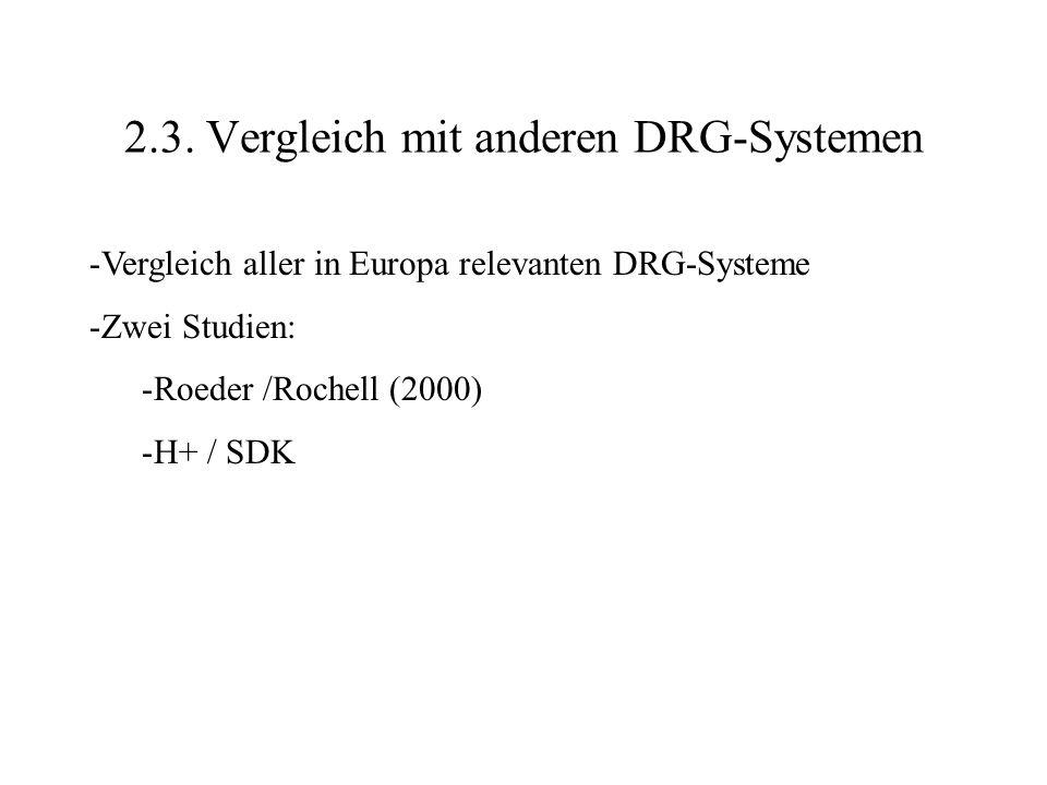 2.3. Vergleich mit anderen DRG-Systemen -Vergleich aller in Europa relevanten DRG-Systeme -Zwei Studien: -Roeder /Rochell (2000) -H+ / SDK