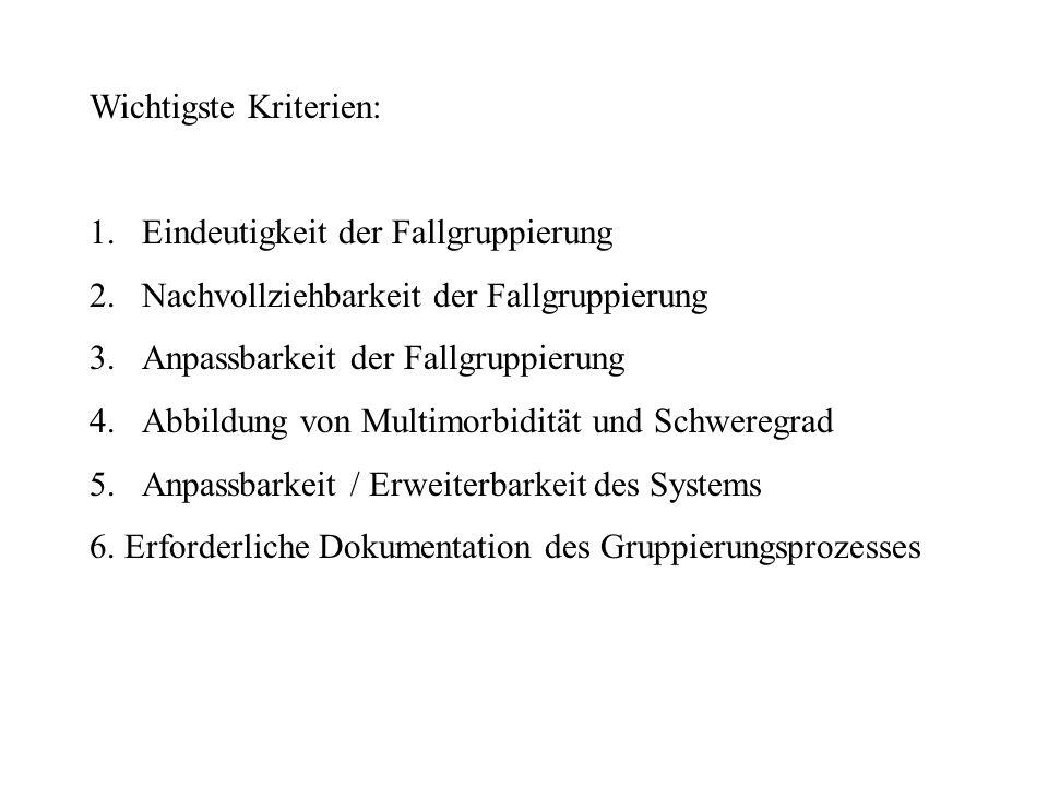 Wichtigste Kriterien: 1.Eindeutigkeit der Fallgruppierung 2.Nachvollziehbarkeit der Fallgruppierung 3.Anpassbarkeit der Fallgruppierung 4.Abbildung von Multimorbidität und Schweregrad 5.Anpassbarkeit / Erweiterbarkeit des Systems 6.