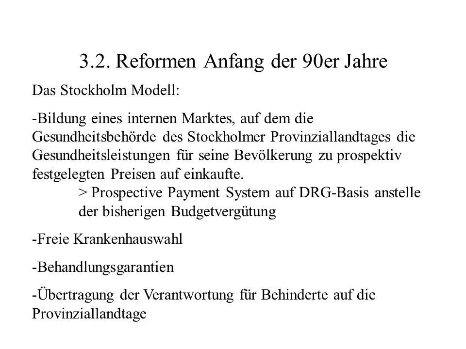 3.2. Reformen Anfang der 90er Jahre Das Stockholm Modell: -Bildung eines internen Marktes, auf dem die Gesundheitsbehörde des Stockholmer Provinzialla