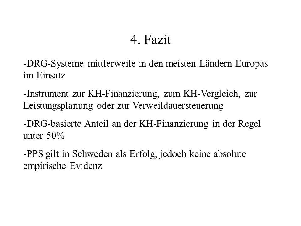 4. Fazit -DRG-Systeme mittlerweile in den meisten Ländern Europas im Einsatz -Instrument zur KH-Finanzierung, zum KH-Vergleich, zur Leistungsplanung o