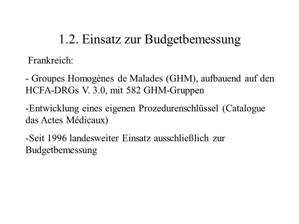 1.2. Einsatz zur Budgetbemessung Frankreich: - Groupes Homogènes de Malades (GHM), aufbauend auf den HCFA-DRGs V. 3.0, mit 582 GHM-Gruppen -Entwicklun