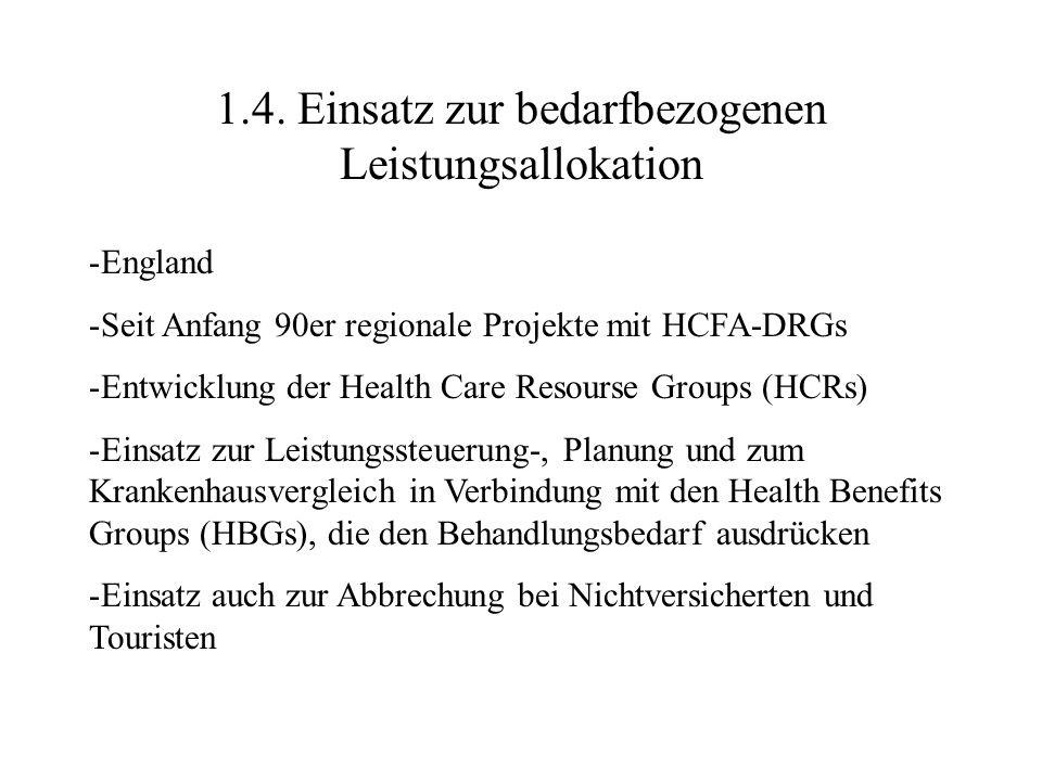 1.4. Einsatz zur bedarfbezogenen Leistungsallokation -England -Seit Anfang 90er regionale Projekte mit HCFA-DRGs -Entwicklung der Health Care Resourse