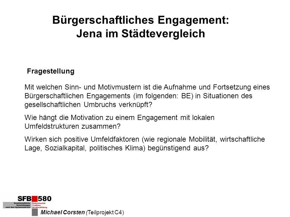 Bürgerschaftliches Engagement: Jena im Städtevergleich Fragestellung Mit welchen Sinn- und Motivmustern ist die Aufnahme und Fortsetzung eines Bürgers