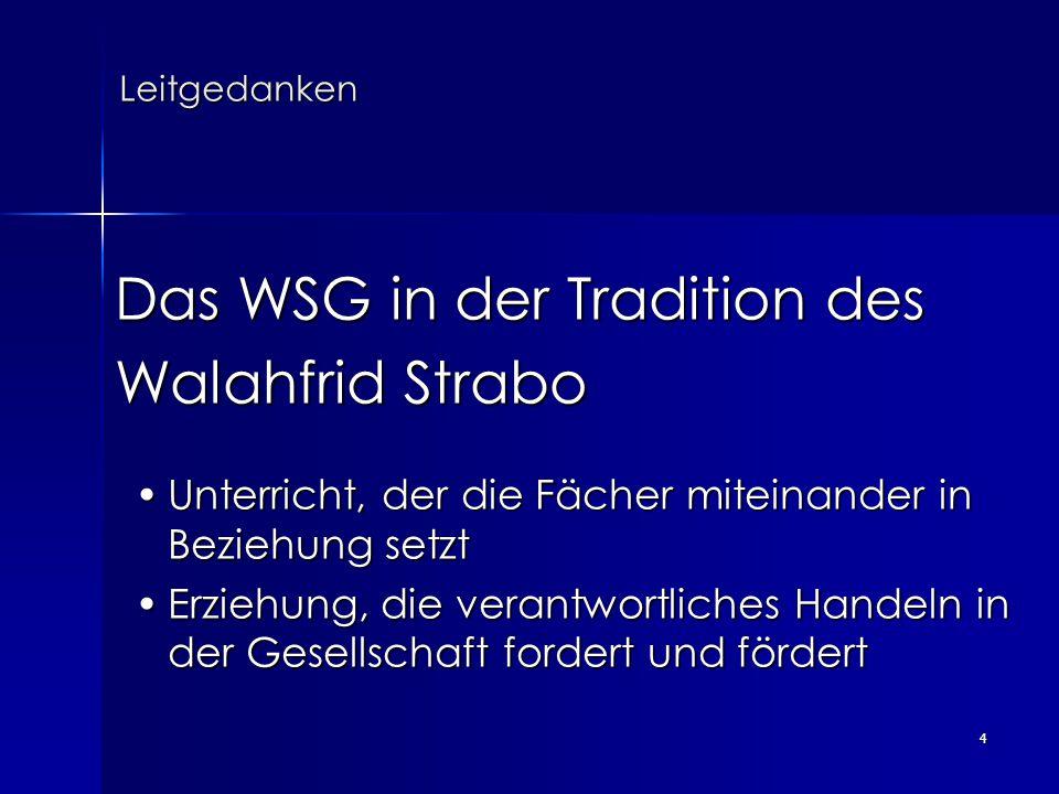 4 Leitgedanken Leitgedanken Das WSG in der Tradition des Das WSG in der Tradition des Walahfrid Strabo Walahfrid Strabo Unterricht, der die Fächer mit