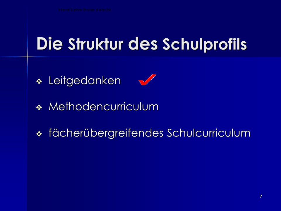 7 Die Struktur des Schulprofils Die Struktur des Schulprofils  Leitgedanken  Methodencurriculum  fächerübergreifendes Schulcurriculum