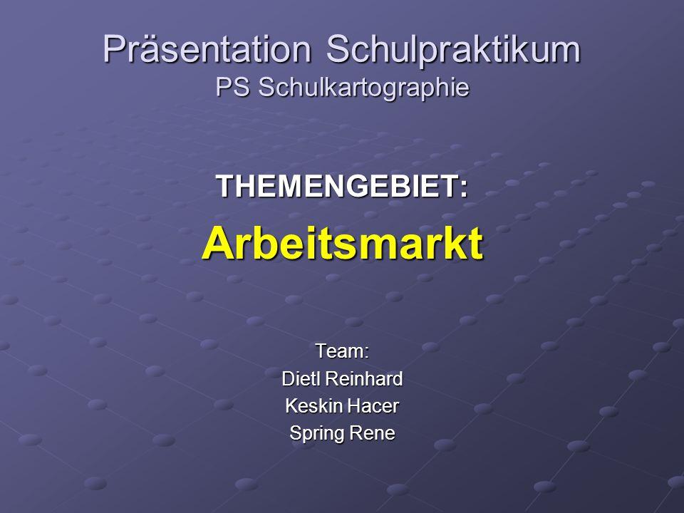 Präsentation Schulpraktikum PS Schulkartographie THEMENGEBIET:ArbeitsmarktTeam: Dietl Reinhard Keskin Hacer Spring Rene