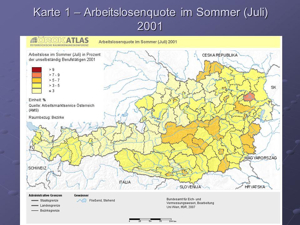 Karte 1 – Arbeitslosenquote im Sommer (Juli) 2001