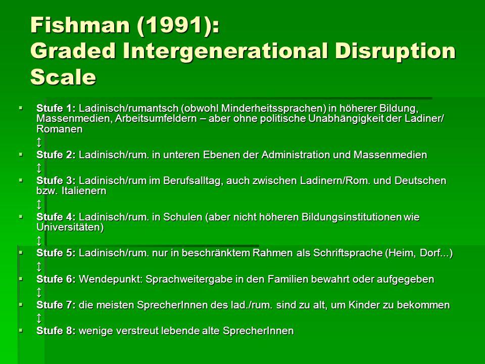 Fishman (1991): Graded Intergenerational Disruption Scale  Stufe 1: Ladinisch/rumantsch (obwohl Minderheitssprachen) in höherer Bildung, Massenmedien