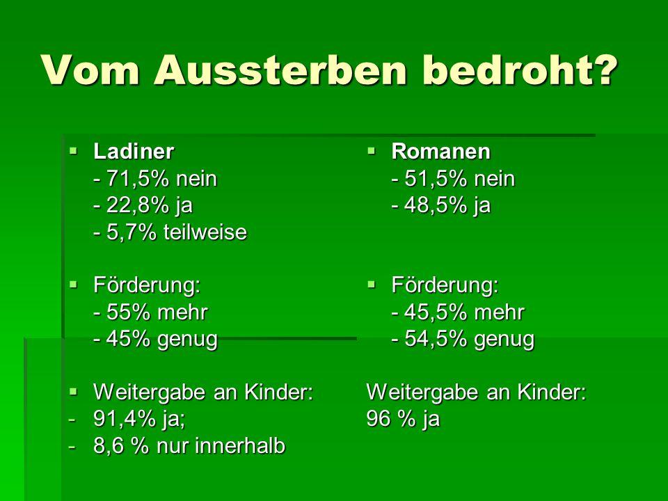 Vom Aussterben bedroht?  Ladiner - 71,5% nein - 22,8% ja - 5,7% teilweise  Förderung: - 55% mehr - 45% genug  Weitergabe an Kinder: -91,4% ja; -8,6