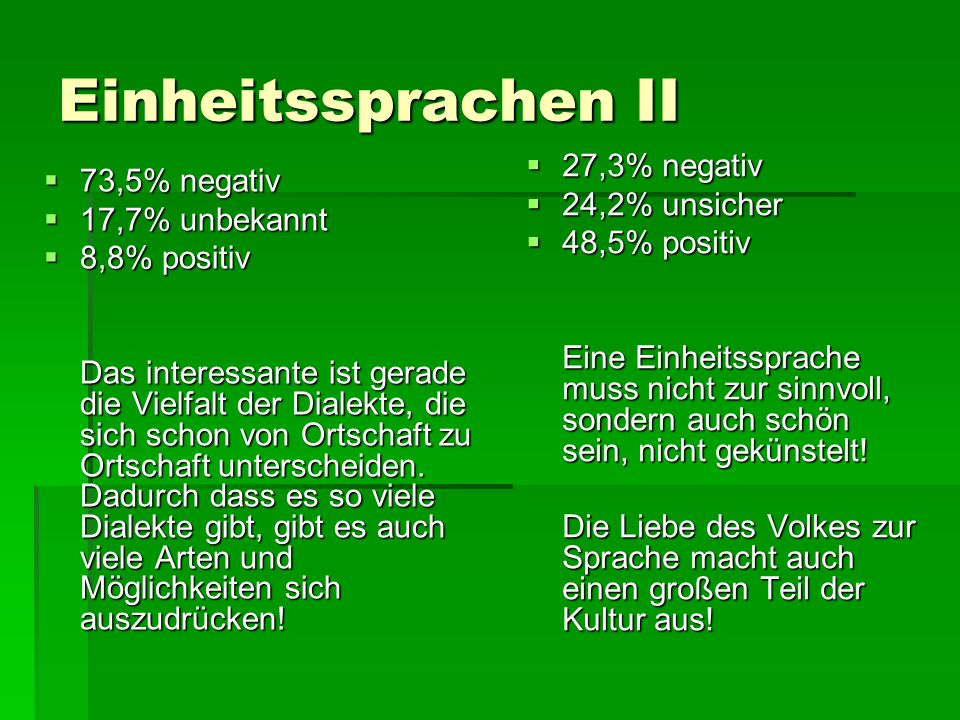 Einheitssprachen II  73,5% negativ  17,7% unbekannt  8,8% positiv Das interessante ist gerade die Vielfalt der Dialekte, die sich schon von Ortscha