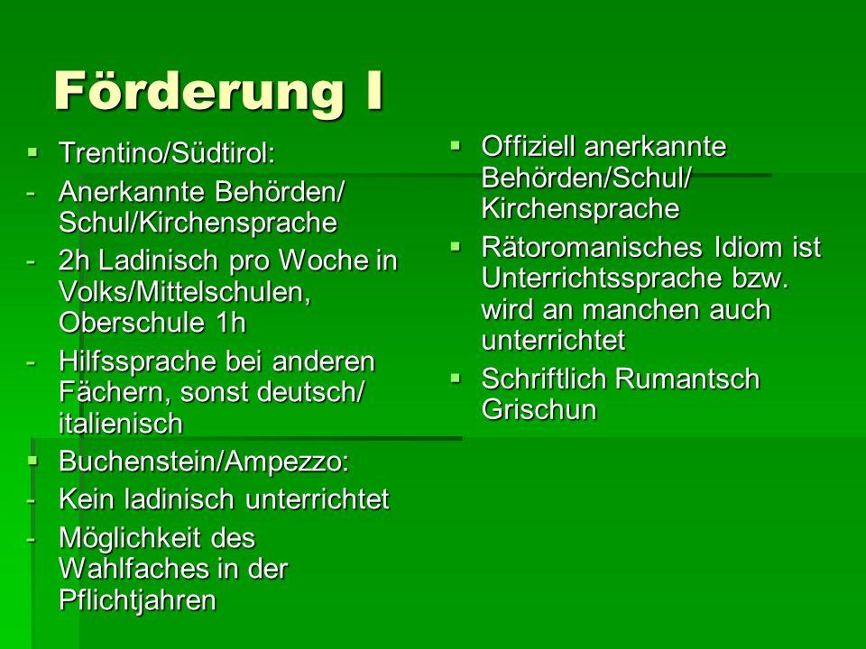 Förderung I  Trentino/Südtirol: -Anerkannte Behörden/ Schul/Kirchensprache -2h Ladinisch pro Woche in Volks/Mittelschulen, Oberschule 1h -Hilfssprach