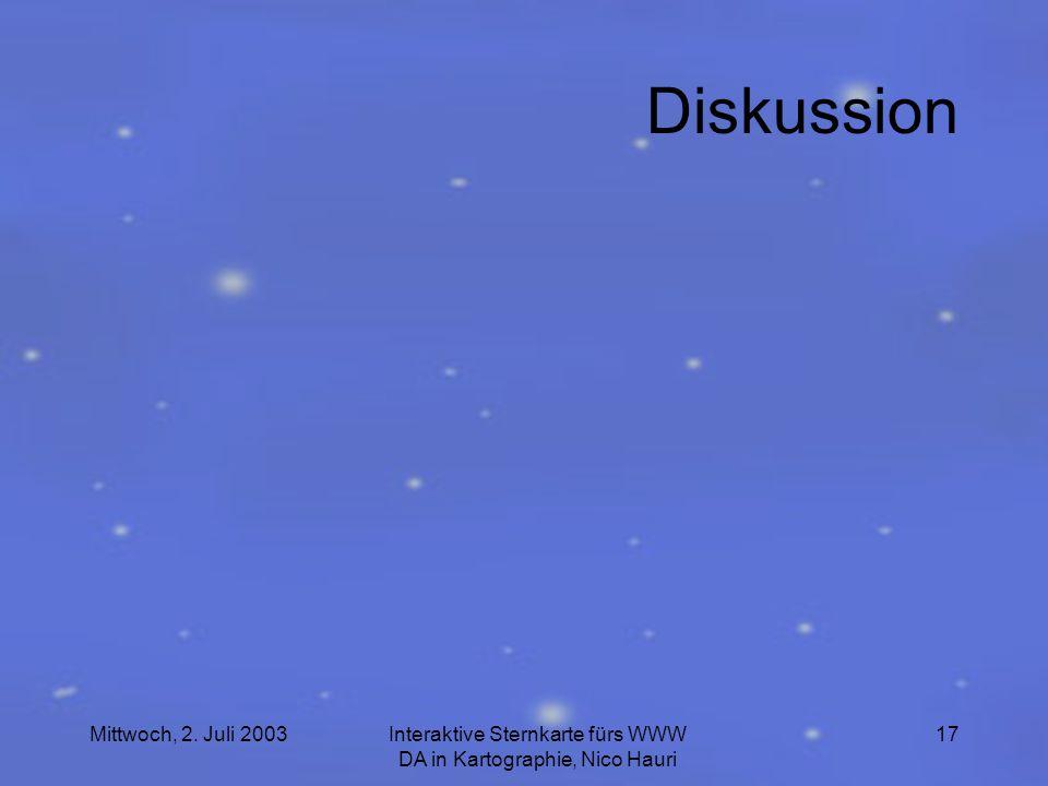Mittwoch, 2. Juli 2003Interaktive Sternkarte fürs WWW DA in Kartographie, Nico Hauri 17 Diskussion