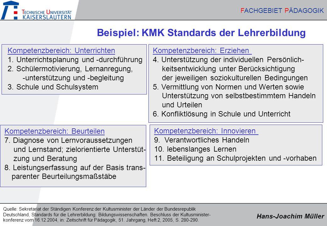 Hans-Joachim Müller FACHGEBIET PÄDAGOGIK Hans-Joachim Müller FACHGEBIET PÄDAGOGIK Kompetenzbereich: Unterrichten 1. Unterrichtsplanung und -durchführu