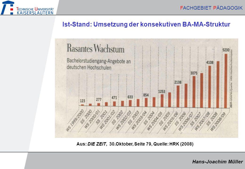 Hans-Joachim Müller FACHGEBIET PÄDAGOGIK Hans-Joachim Müller FACHGEBIET PÄDAGOGIK Ist-Stand: Umsetzung der konsekutiven BA-MA-Struktur Aus: DIE ZEIT, 30.Oktober, Seite 79, Quelle: HRK (2008)