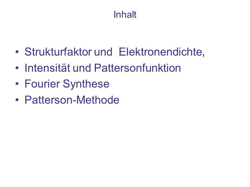 """Zusammenfassung : Die Fourier-Synthese liefert die optimale Information, die Verteilung der Dichte Aber: Aus dem Beugungsbild ist nur der Betrag des Strukturfaktors messbar, nicht die Phase Die Pattersonfunktion folgt unmittelbar aus der Intensität Aber: Diese Autokorrelationsfunktion der Dichte liefert (nur) die nach Häufigkeit und Streukraft der Objekte """"gewichteten Abstände"""