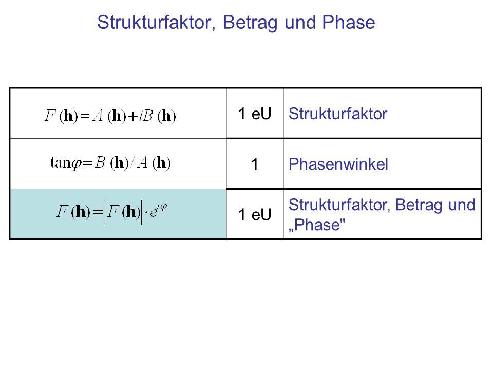 1 eU Strukturfaktor, Integration über die Elementarzelle 1 eU/m 3 Umkehrung: Verteilung der Dichte in der Elementarzelle Die Fourier-Synthese 1 eU Strukturfaktor 1 eU Betrag, Messgröße 1Phasenwinkel Intensität Problem: Der Phasenwinkel φ ist bei Messung der Intensität unbekannt