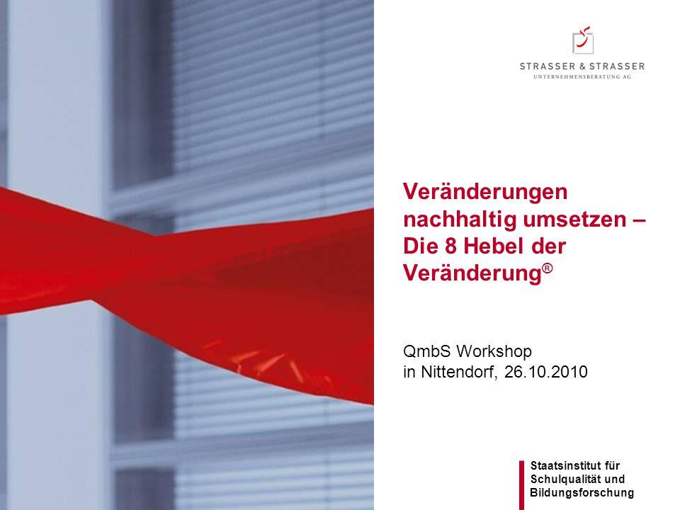 Staatsinstitut für Schulqualität und Bildungsforschung Veränderungen nachhaltig umsetzen – Die 8 Hebel der Veränderung ® QmbS Workshop in Nittendorf,