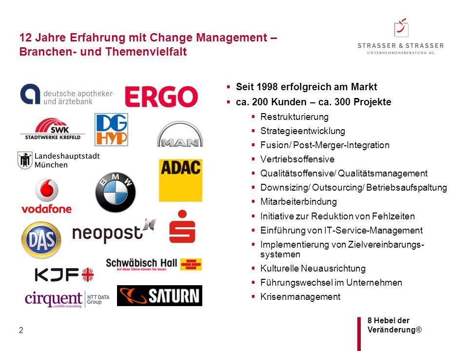 8 Hebel der Veränderung® 2 12 Jahre Erfahrung mit Change Management – Branchen- und Themenvielfalt  Seit 1998 erfolgreich am Markt  ca. 200 Kunden –