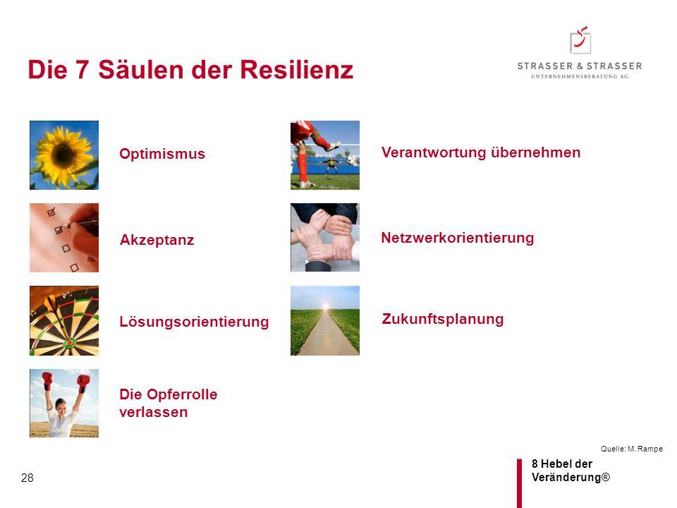8 Hebel der Veränderung® 28 Die 7 Säulen der Resilienz Quelle: M. Rampe Optimismus Lösungsorientierung Netzwerkorientierung Die Opferrolle verlassen Z