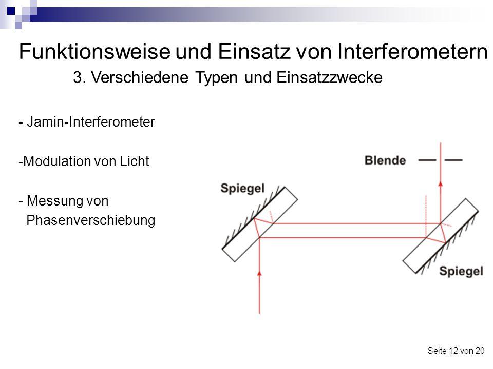 Funktionsweise und Einsatz von Interferometern - Jamin-Interferometer -Modulation von Licht - Messung von Phasenverschiebung 3. Verschiedene Typen und