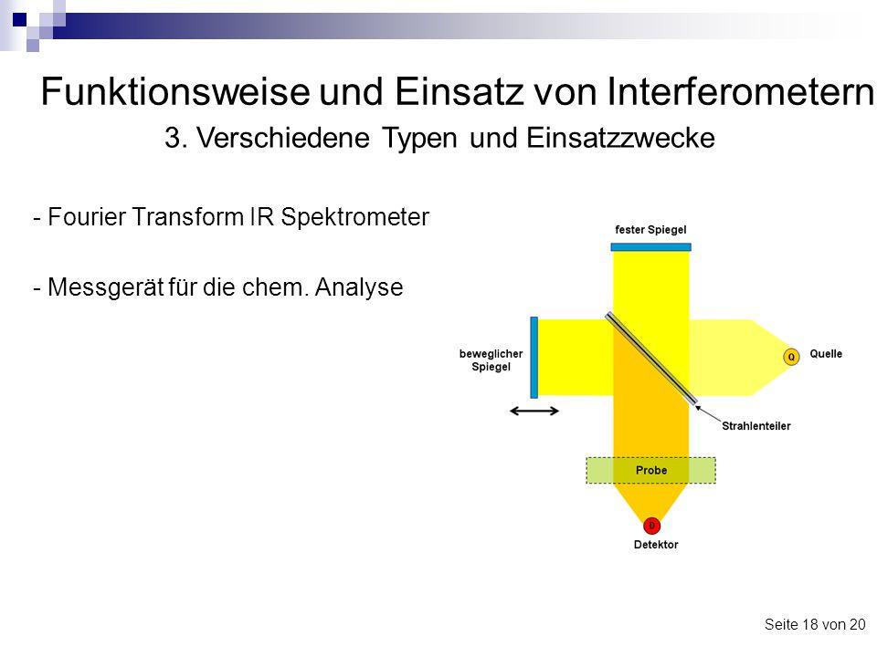 Funktionsweise und Einsatz von Interferometern - Fourier Transform IR Spektrometer - Messgerät für die chem. Analyse 3. Verschiedene Typen und Einsatz