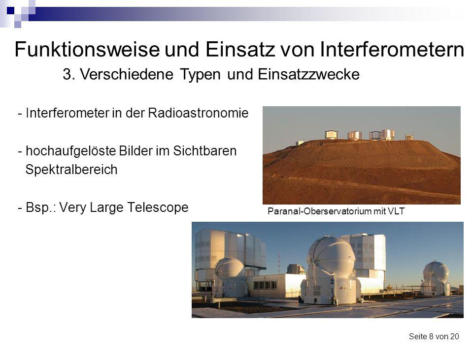 Funktionsweise und Einsatz von Interferometern - Interferometer in der Radioastronomie - hochaufgelöste Bilder im Sichtbaren Spektralbereich - Bsp.: V