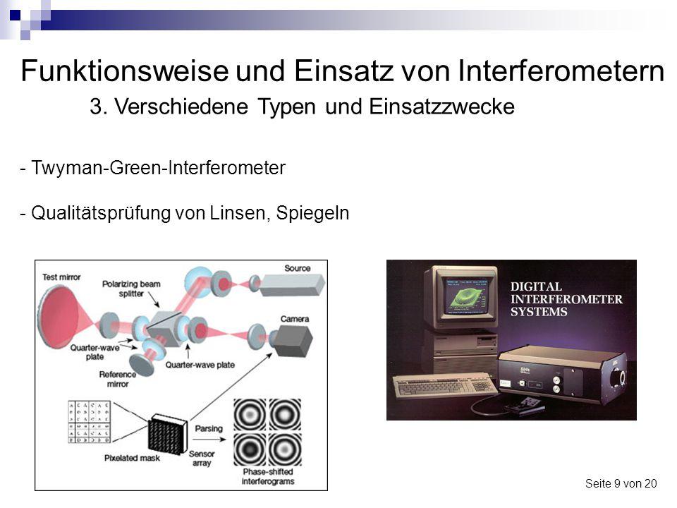Funktionsweise und Einsatz von Interferometern Seite 9 von 20 3. Verschiedene Typen und Einsatzzwecke - Twyman-Green-Interferometer - Qualitätsprüfung