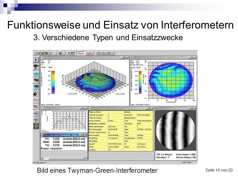 Funktionsweise und Einsatz von Interferometern Bild eines Twyman-Green-Interferometer 3. Verschiedene Typen und Einsatzzwecke Seite 10 von 20