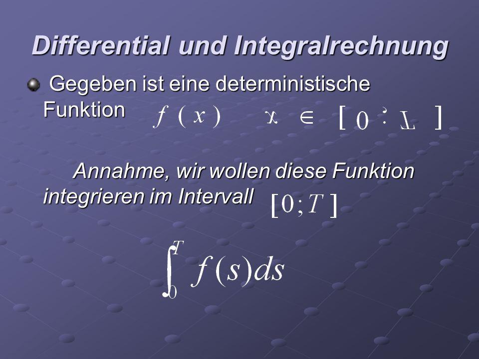 Differential und Integralrechnung Gegeben ist eine deterministische Funktion Gegeben ist eine deterministische Funktion Annahme, wir wollen diese Funk